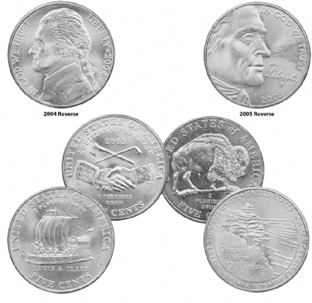 U.S. Nickel Collection of 2004-2005- The Westward Journey